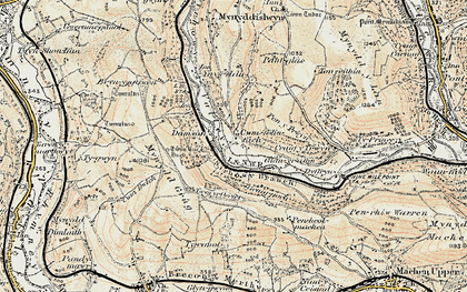 Old map of Ynys Hywel in 1899-1900