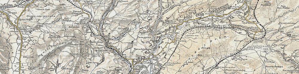 Old map of Cwmgiedd in 1900-1901
