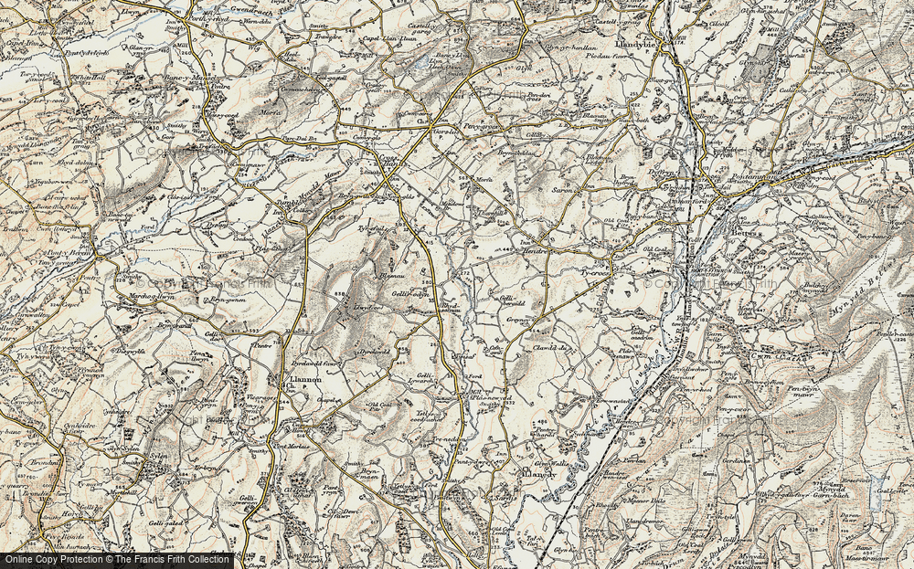 Old Map of Historic Map covering Tir-isaf in 1900-1901