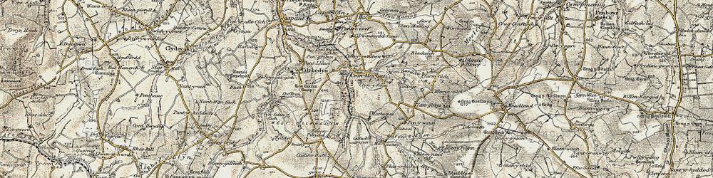 Old map of Afon Sylgen in 1901