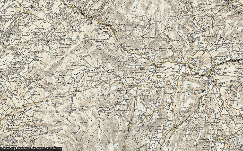 Old Map of Historic Map covering Aberhenwenfawr in 1900-1901