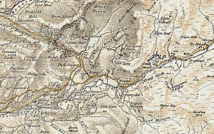 Old map of Allt Dihanog in 1901-1903