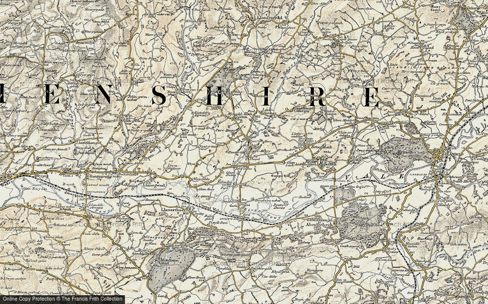 Old Map of Historic Map covering Abersannan in 1900-1901