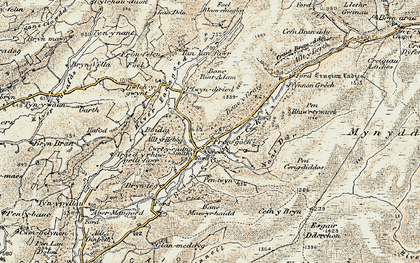 Old map of Afon Fanagoed in 1900-1902