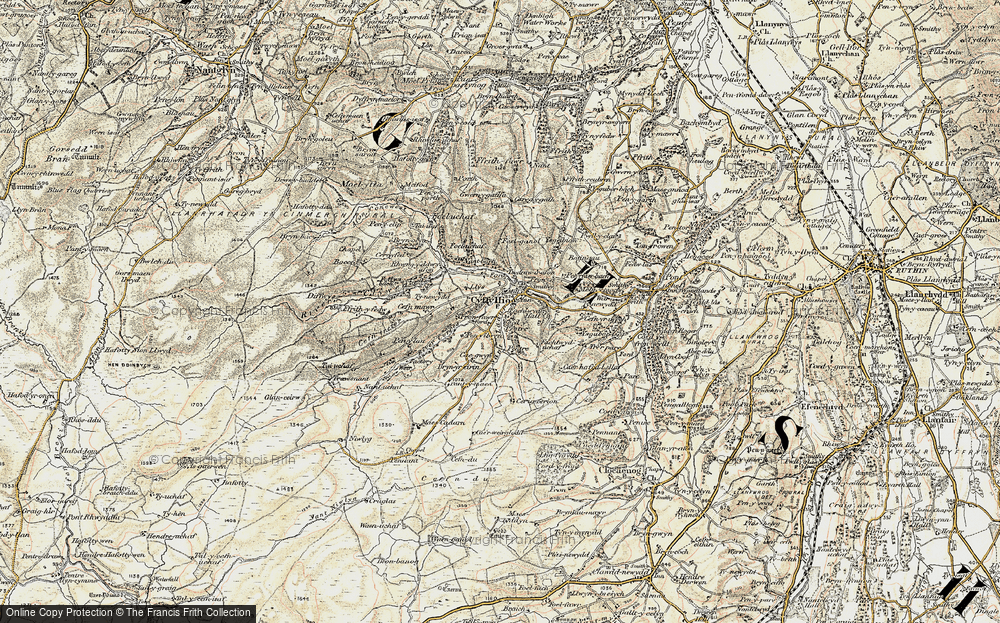 Old Map of Historic Map covering Afon Corris in 1902-1903
