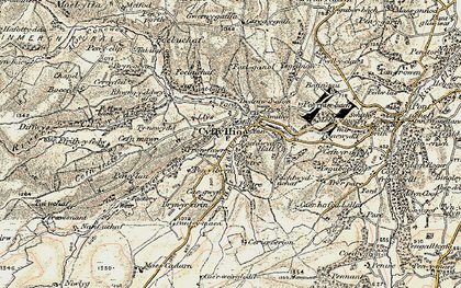 Old map of Afon Corris in 1902-1903