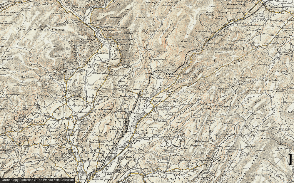Old Map of Historic Map covering Banc Cefngarreg in 1900-1902