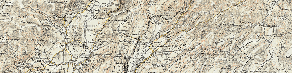 Old map of Afon Crychan in 1900-1902