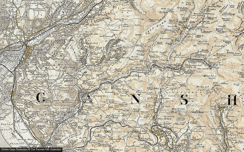 Old Map of Historic Map covering Afon Afan in 1900-1901