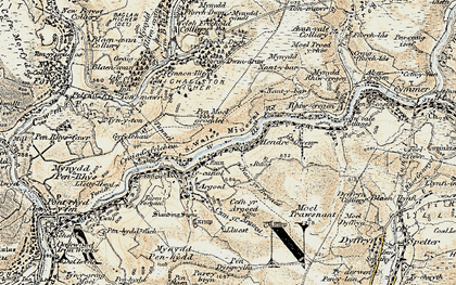 Old map of Afon Afan in 1900-1901