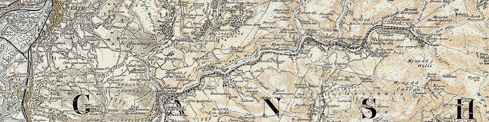 Old map of Afon Afan in 1900-1901