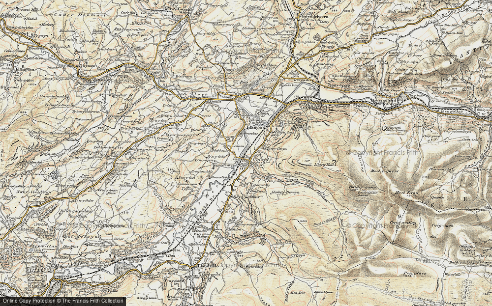 Old Map of Historic Map covering Afon Trystion in 1902-1903