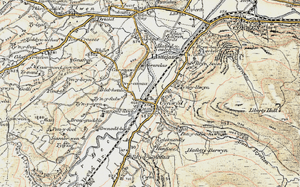 Old map of Afon Trystion in 1902-1903