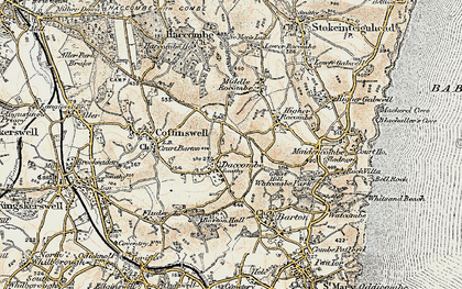 Old map of Daccombe in 1899