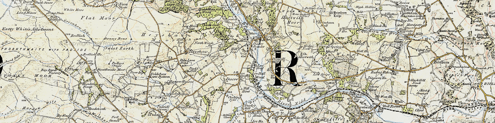 Old map of Dacre Banks in 1903-1904
