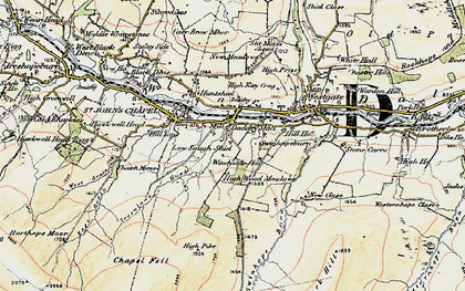 Old map of Daddry Shield in 1901-1904