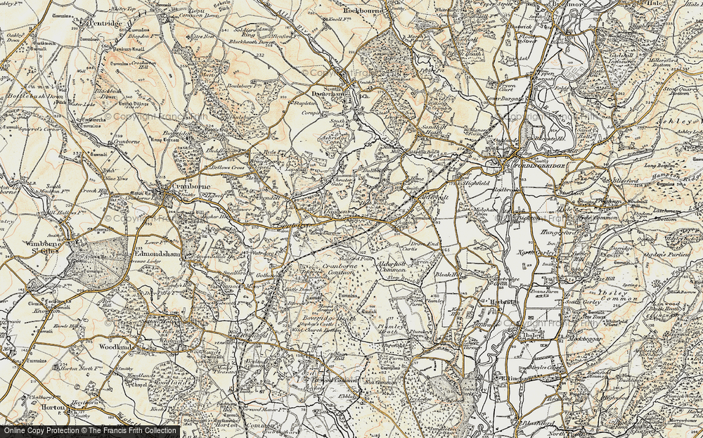 Old Map of Historic Map covering Alderholt Common in 1897-1909