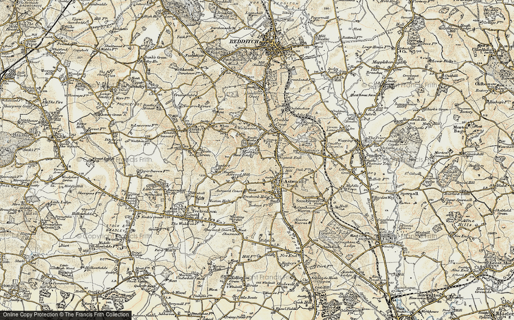 Old Map of Historic Map covering Astwood Court in 1899-1902