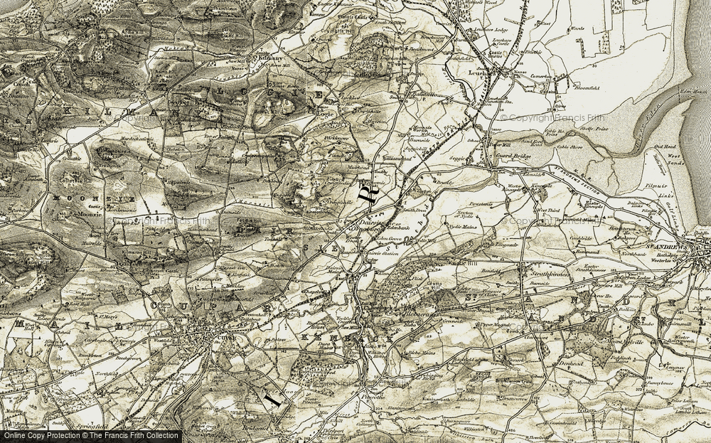 Old Map of Dairsie, 1906-1908 in 1906-1908