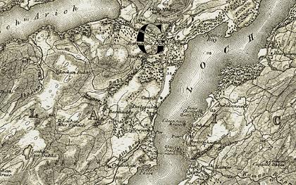 Old map of Avich Falls in 1906-1907
