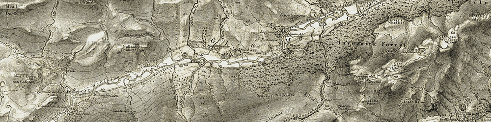 Old map of Allt Phocaichain in 1908