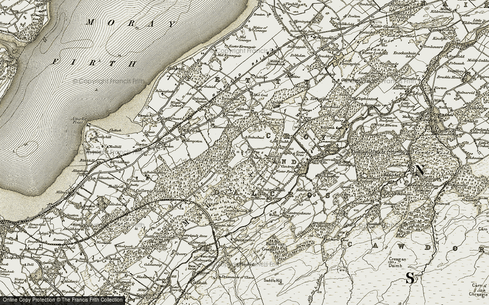 Old Map of Historic Map covering Balnabual in 1911-1912