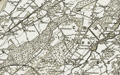 Old map of Dalcross in 1911-1912