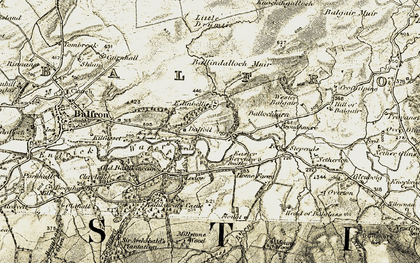 Old map of Ballindalloch Muir in 1904-1907