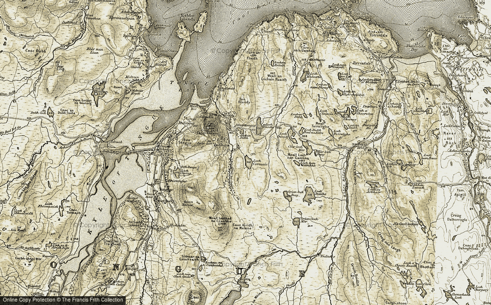 Old Map of Historic Map covering Alltan na Creige in 1910-1912