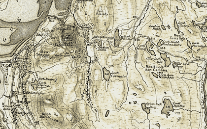Old map of Alltan na Creige in 1910-1912