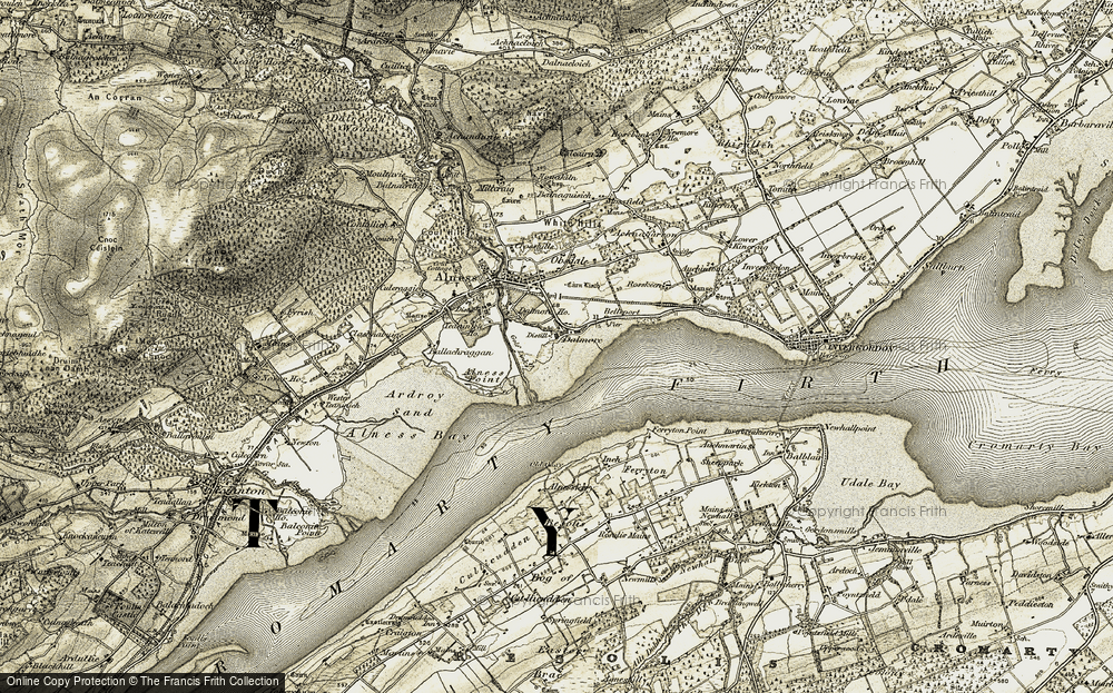 Old Map of Historic Map covering Alness Point in 1911-1912
