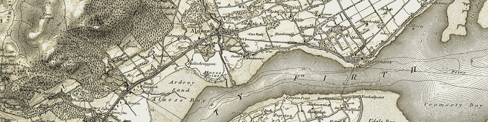 Old map of Alness Point in 1911-1912