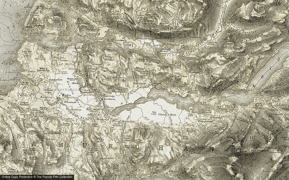 Old Map of Historic Map covering Langal Burn in 1908