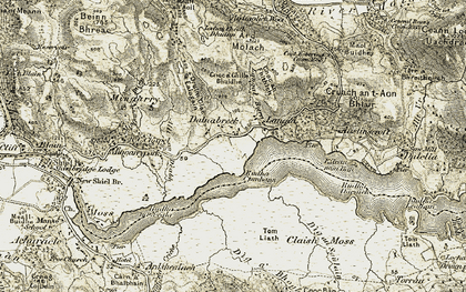 Old map of Langal Burn in 1908