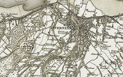 Old map of Dalneigh in 1908-1912