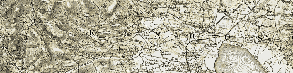 Old map of Tillyochie Mains in 1904-1908