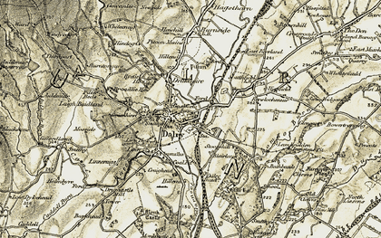 Old map of Dalry in 1905-1906