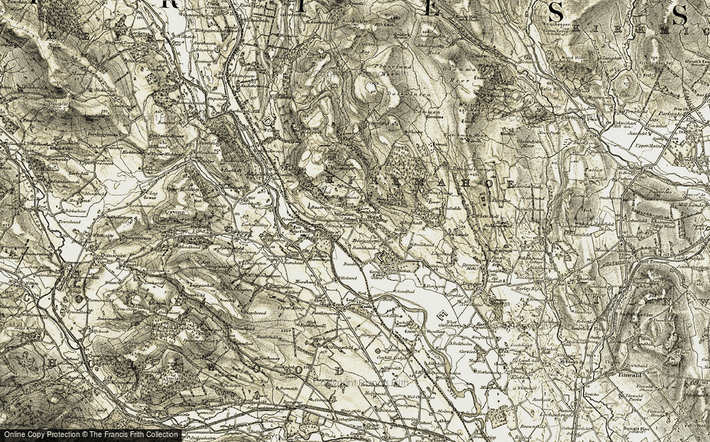 Old Map of Historic Map covering Bankhead in 1901-1905