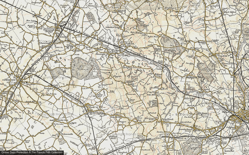 Old Map of Historic Map covering Ashurst's Hall in 1903