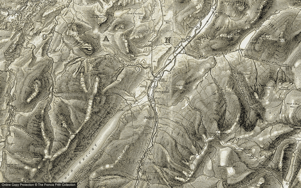 Old Map of Historic Map covering Allt Coire Bhathaich in 1906-1908
