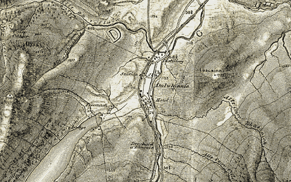 Old map of Dalwhinnie in 1906-1908