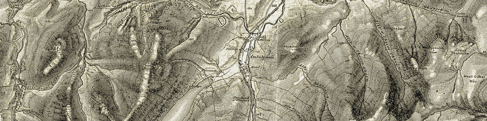 Old map of Allt Coire Bhathaich in 1906-1908