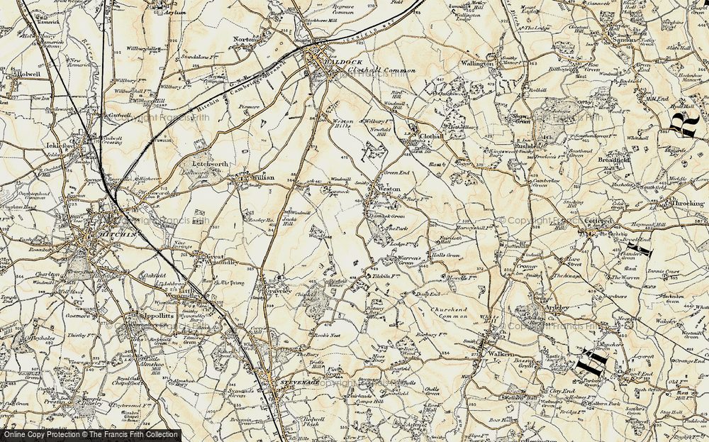 Old Map of Historic Map covering Lannock Hill in 1898-1899
