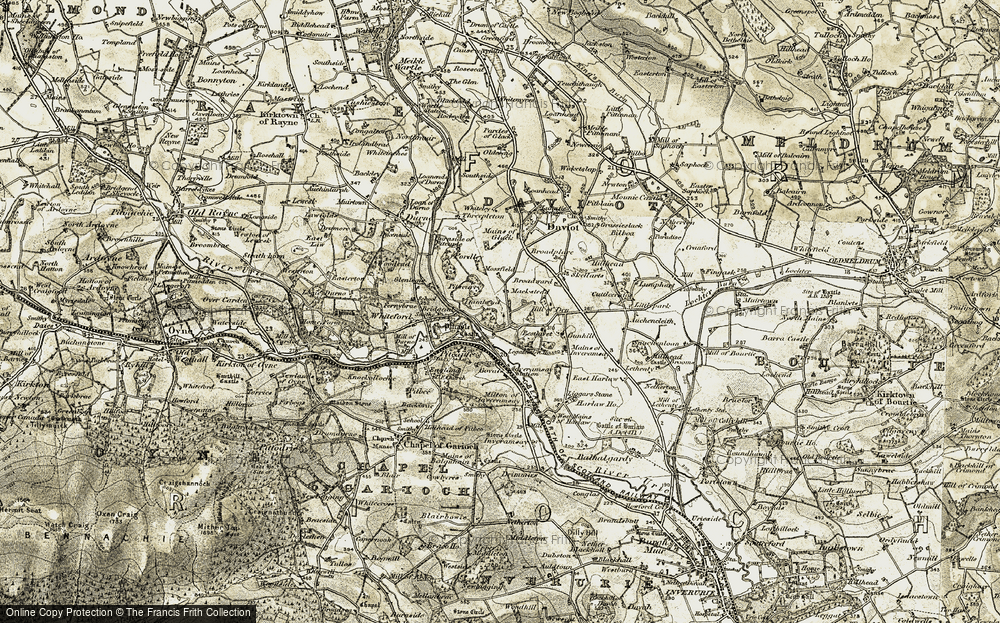 Old Map of Historic Map covering Legatesden House in 1909-1910