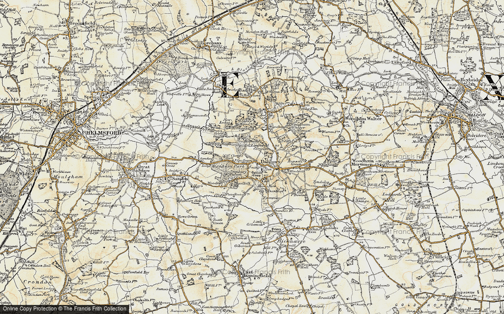 Map of Danbury, 1898 - Francis Frith Danbury Map on