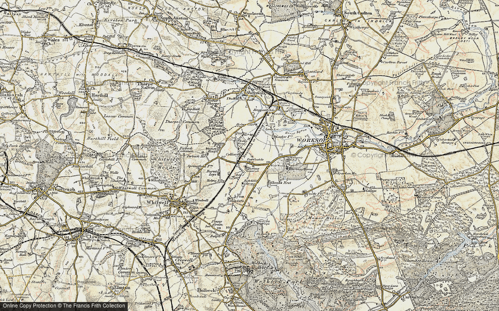 Old Map of Historic Map covering Worksop Manor in 1902-1903