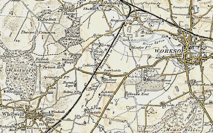 Old map of Worksop Manor in 1902-1903