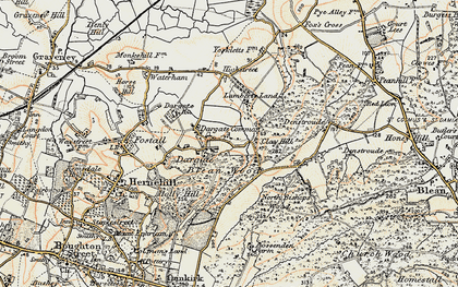 Old map of Acorn Cott in 1897-1898