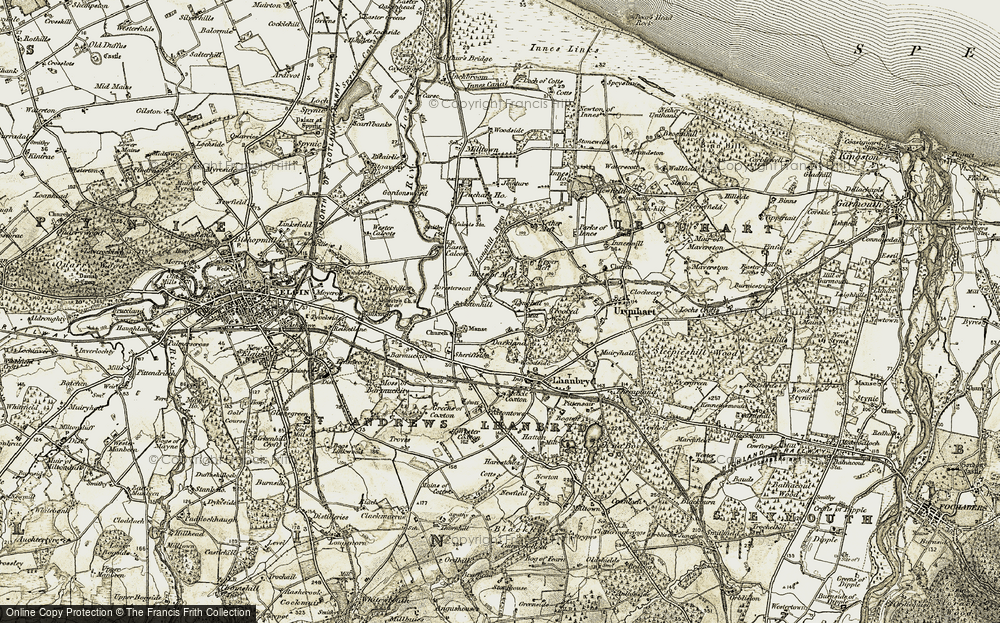 Old Map of Historic Map covering Leuchars Ho in 1910-1911