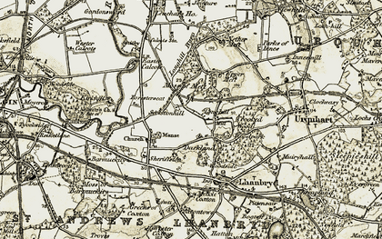Old map of Leuchars Ho in 1910-1911